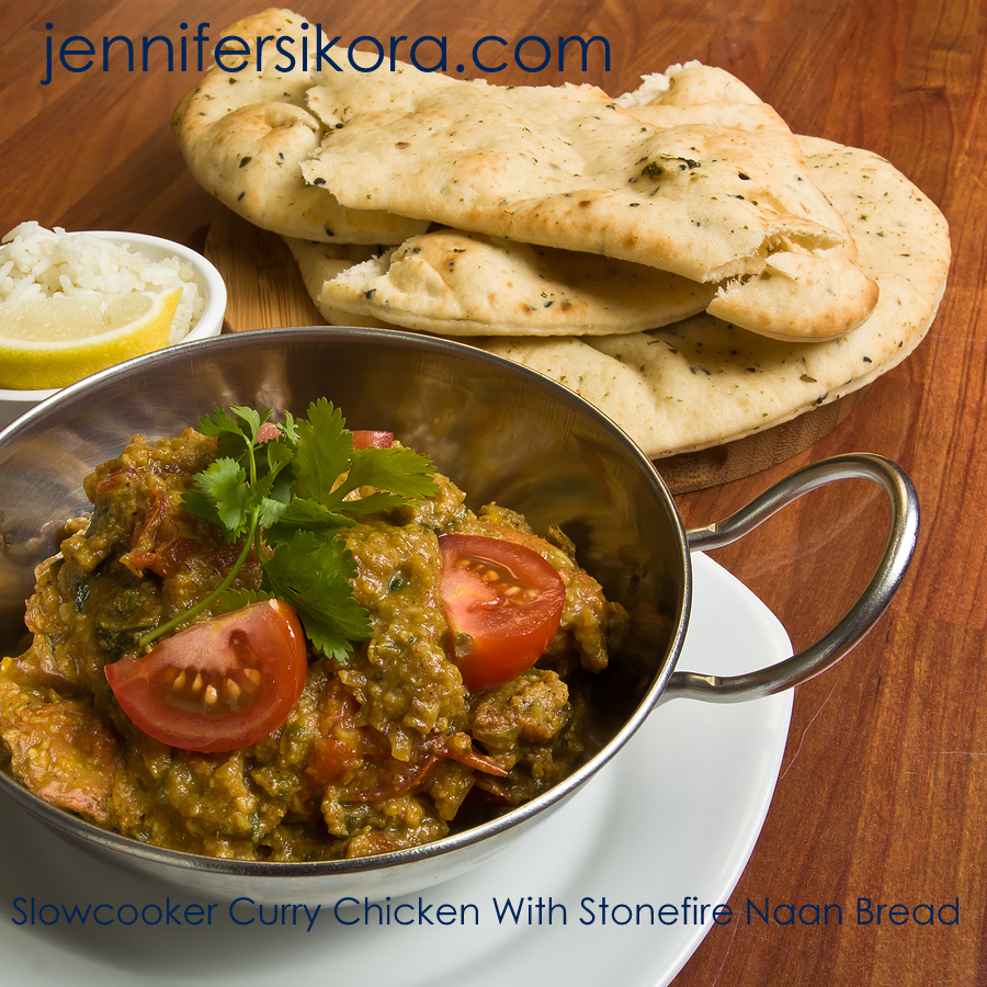 Slowcooker Curry Chicken with Naan Bread