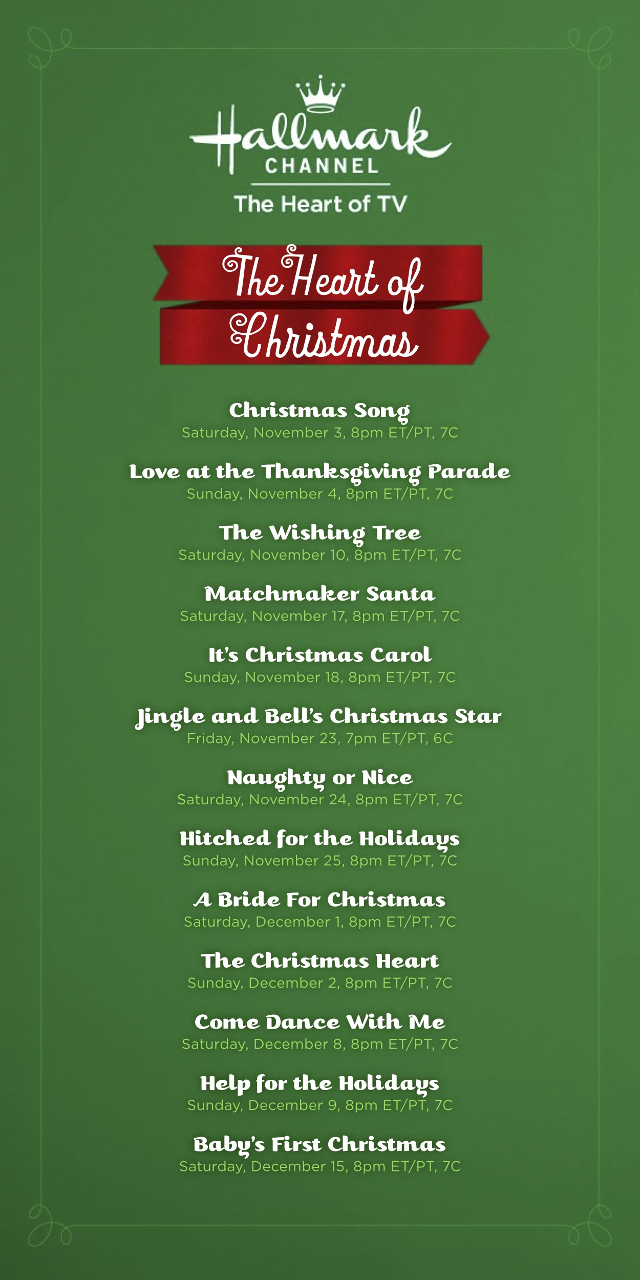 Holiday Movie Lineup on The Hallmark Channel