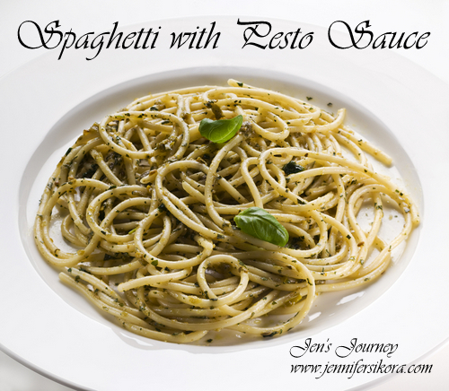 It's National Spaghetti Day! Pesto Spaghetti