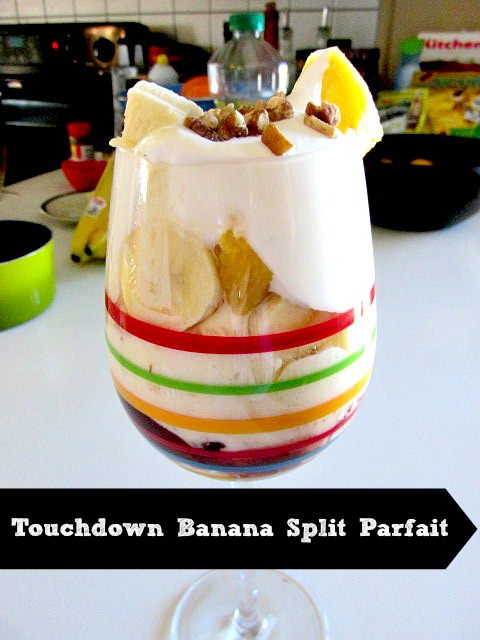 Offer a banana split bar at your next game day party so your guests can create a parfait like this one #GameTimeGoodies #Shop #Cbias