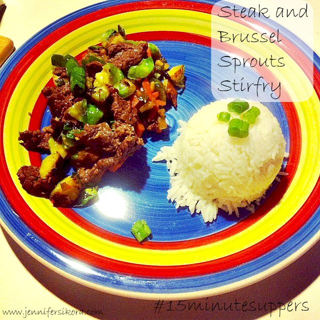 Steak and Brussel Sprouts Stirfry #15minutesuppers