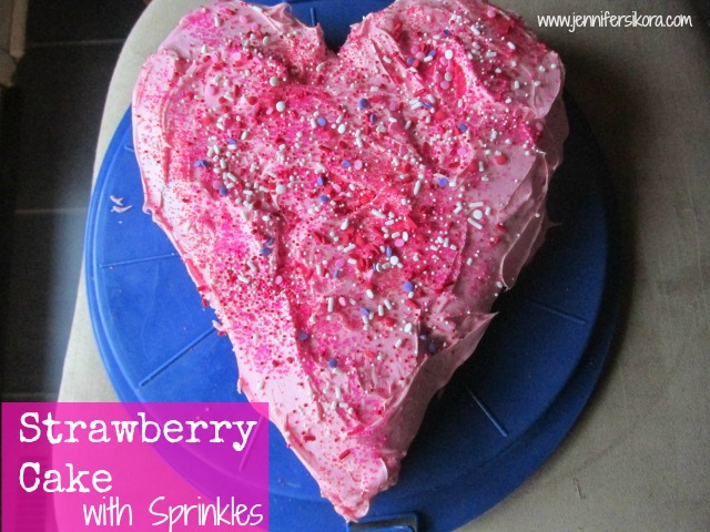 Strawberry Cake with Sprinkles + a Neat Heart Shaped Pan (Giveaway)