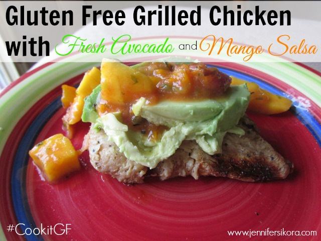 Gluten Free Grilled Chicken with Fresh Avocado and Mango Salsa #CookItGF #Shop #Cbias