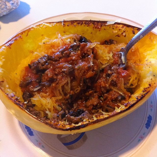 Spaghetti Squash with Mushrooms #mushroommakeover