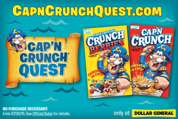 Help Cap'n Find His Treasure in the the Cap'n Crunch Quest