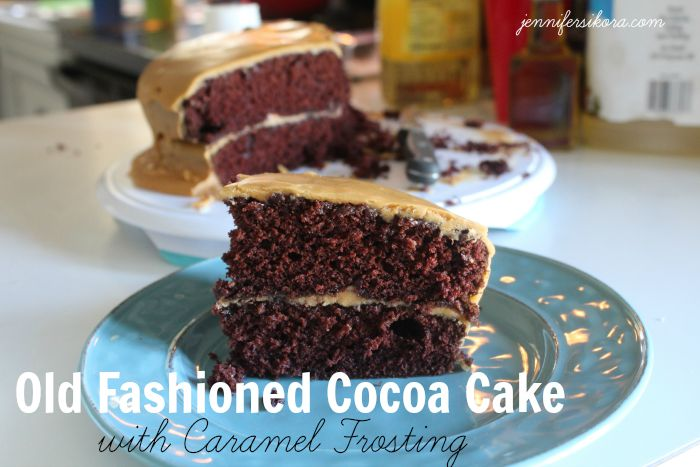 Old Fashioned Cocoa Cake with Caramel Icing