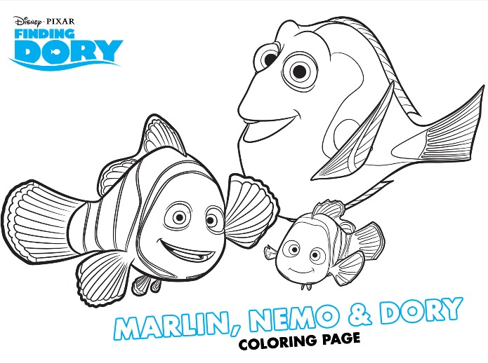 Finding Dory Marlin Nemo and Dory coloring page