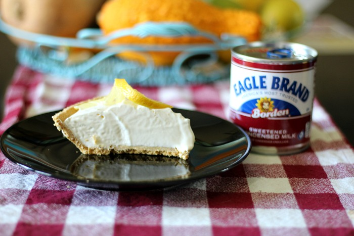 My frozen lemonade pie is the perfect summer dessert featuring my favorite brand -- Eagle Brand Sweetened Condensed Milk