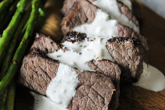 Pepper Steak with Horseradish Cream Sauce